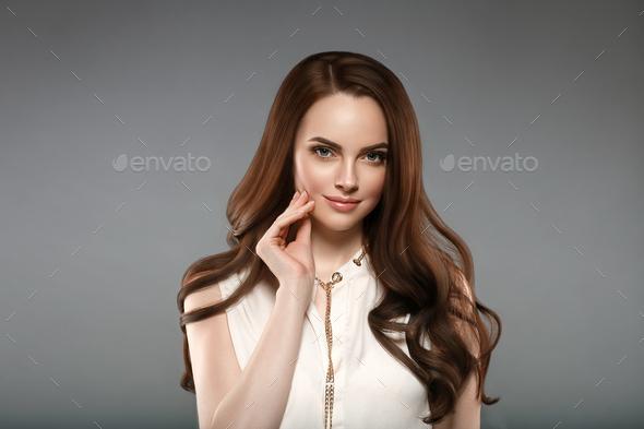Long hair woman natural make up attractive girl - Stock Photo - Images