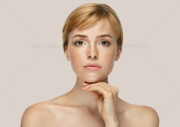 Woman cosmetic closeup beauty portrait, for salon beautiful people and healthy care skin and hair - Stock Photo - Images