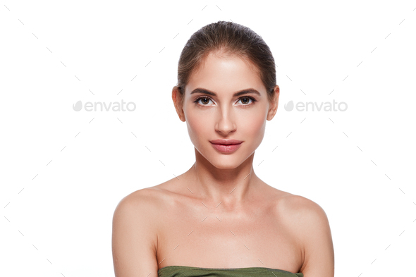 Beauty fresh clean skin female portrait woman natural make up - Stock Photo - Images