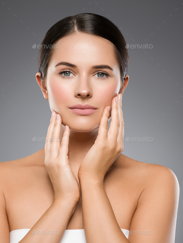 Beauty face woman beautiful eyes clean healthy skin - Stock Photo - Images