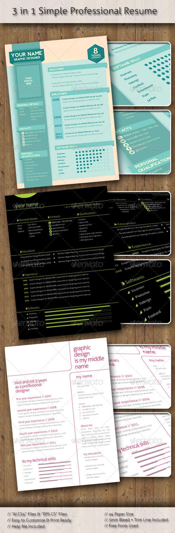 Stylish Professional Resume (3 design) - Resumes Stationery