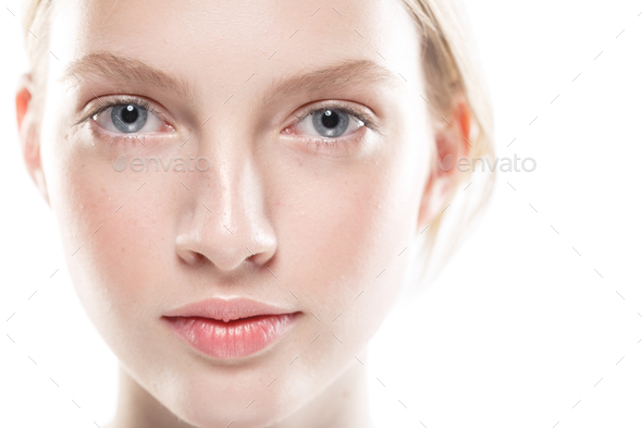 Young girl healthy fresh skin face beauty - Stock Photo - Images