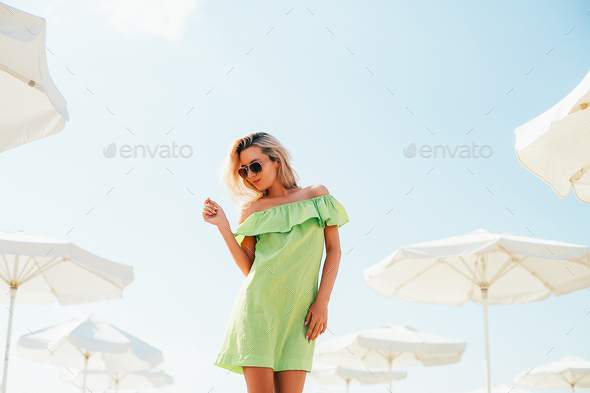 Woman on the beach summer portrait - Stock Photo - Images