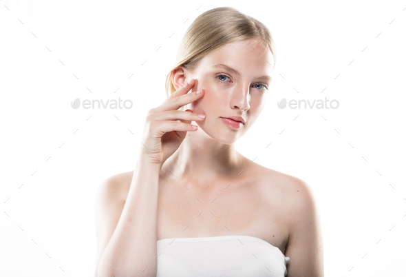 Skin care woman healthy beauty skin portrait - Stock Photo - Images