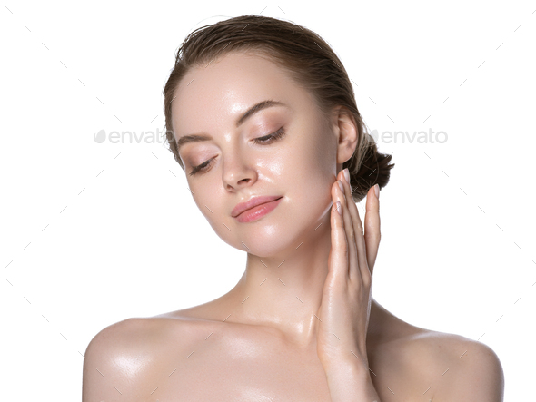 Beautiful skin warm woman healthy beauty clean face - Stock Photo - Images