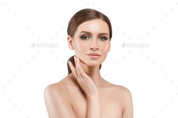Clean skin woman beautiful young cosmetic skin model - Stock Photo - Images