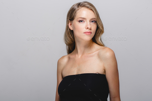 Curly natural blond hair woman beauty portrait - Stock Photo - Images