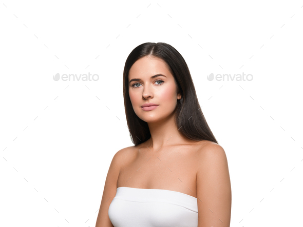 Beautiful woman isolated on white healthy skin and hair - Stock Photo - Images