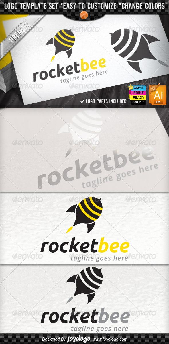 Social Marketing Pin Bee Launch Rocket Logo Design - Objects Logo Templates