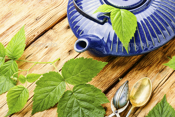 Aromatic tea with raspberry leaves - Stock Photo - Images