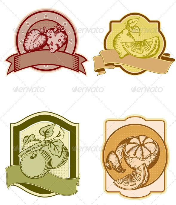 Set of Vintage Fruit Labels - Food Objects