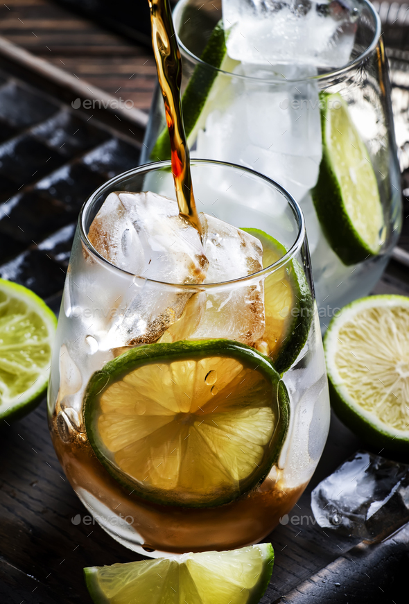 Cuba libre or rum cola cocktail with strong alcohol - Stock Photo - Images