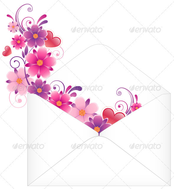 Envelope with Flowers - Valentines Seasons/Holidays