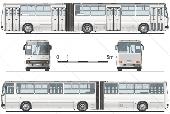 Vector Articulated Public Bus - Man-made Objects Objects