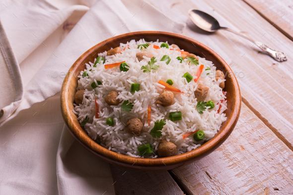 Soya Pulao / Soya Chunk Fried Rice - Stock Photo - Images