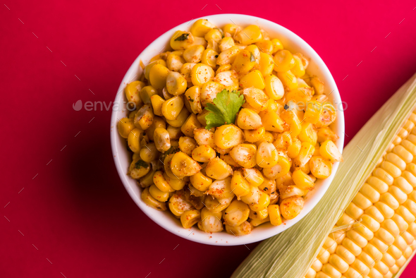 Sweet Corn Chat / Chatpata Masala Corn - Stock Photo - Images