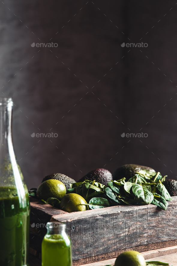 Fresh smoothie in jar in old wooden box, top view. Detox, dieting, vegan, healthy concept - Stock Photo - Images