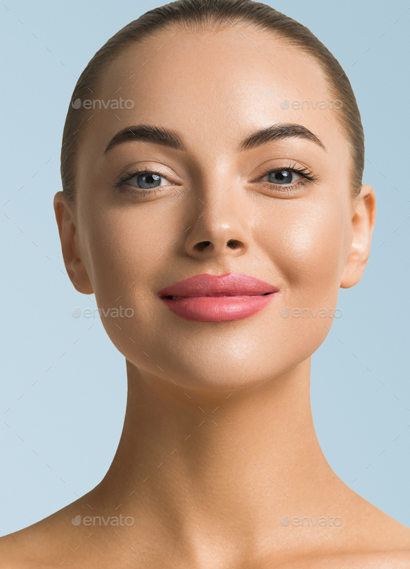 Macro woman face portrait healthy clean skin - Stock Photo - Images