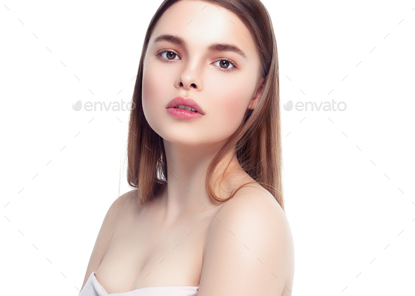 Beautiful Brunette Woman Portrait healthy Hair.Clear Fresh Skin.Smiling Girl Isolated on White - Stock Photo - Images