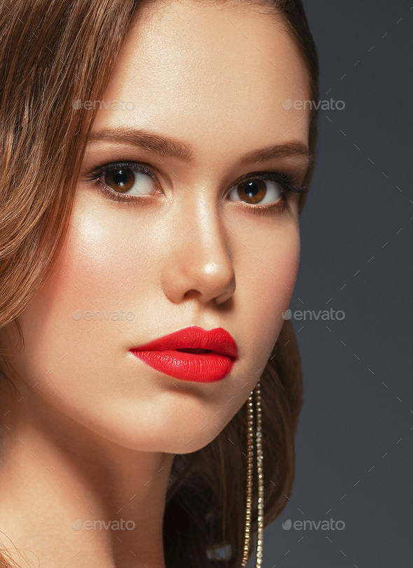 Hairstyle Woman Classic Wavy Hair Red Lipstick Make Up - Stock Photo - Images