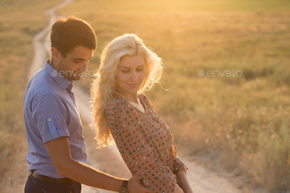 Couple in love Man and Woman nature Together Summer - Stock Photo - Images