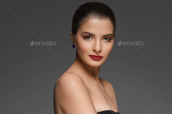 Red Lipstick Woman make Up Beautiful Female Glamour Portrait - Stock Photo - Images