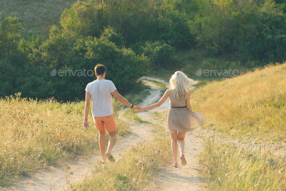 Happy Couple in love Man and Woman nature Together Summer - Stock Photo - Images
