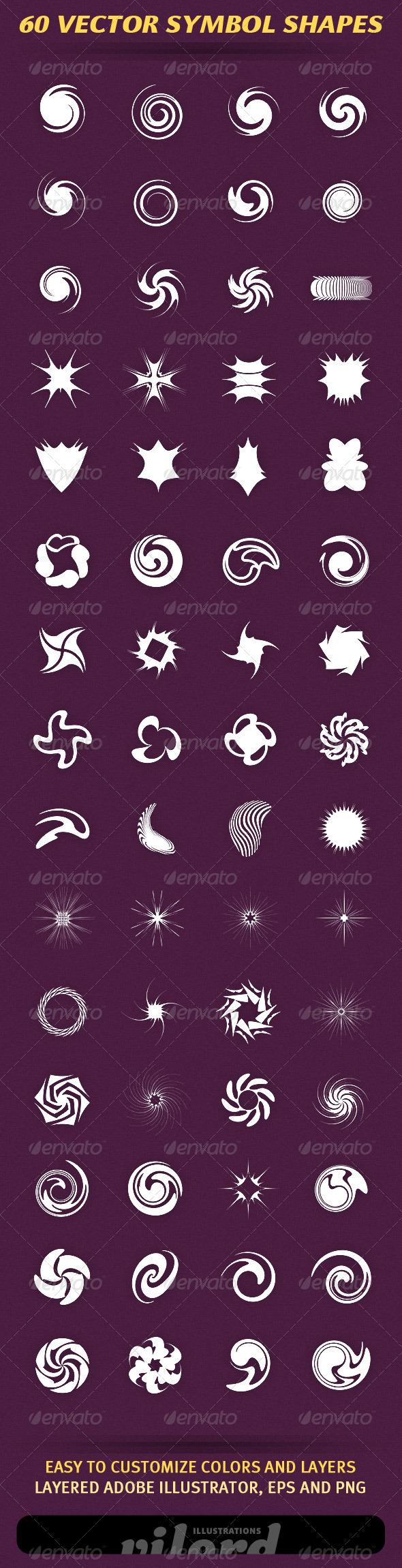 60 Vector Symbol Shapes - Decorative Symbols Decorative