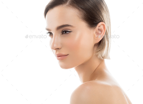 Short Hair Woman Face Portrait Cosmetic Concept Healthy Skin - Stock Photo - Images
