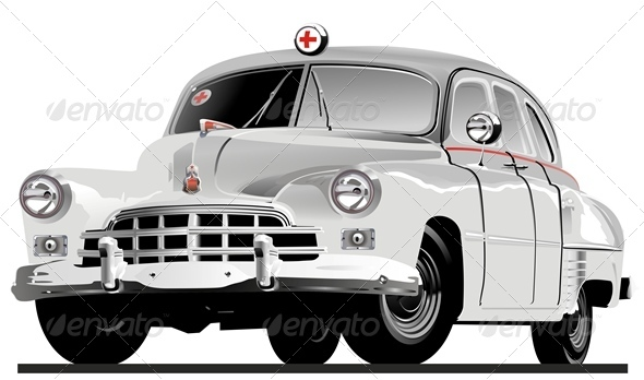 Vector Retro Ambulance - Man-made Objects Objects