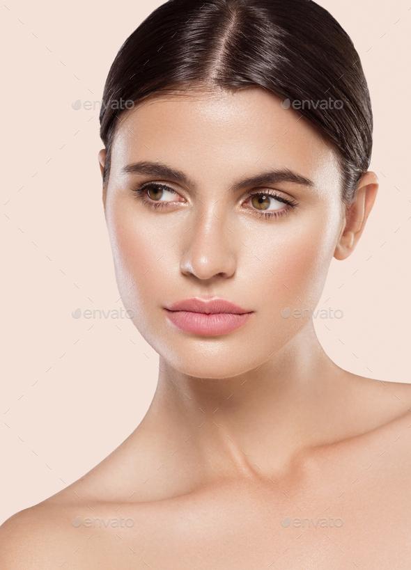 Beautiful Girl clean healthy skin macro portrait - Stock Photo - Images