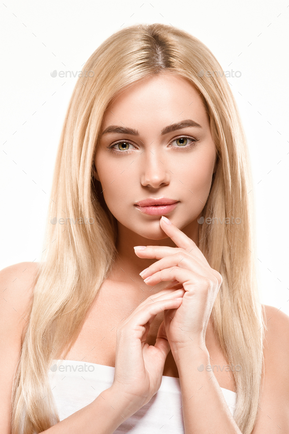 Smooth Blonde Hair Woman Healthy Natural Skin Cosmetic Beauty isolated on white - Stock Photo - Images
