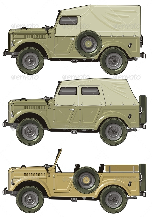Vector Retro Jeep Set - Man-made Objects Objects