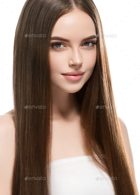 Woman with long smooth hair beautiful hairstyle fashion make up beauty female - Stock Photo - Images