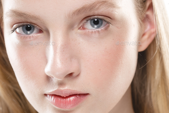 Close up face woman with beauty skin and beautful blond hair isolated on white - Stock Photo - Images