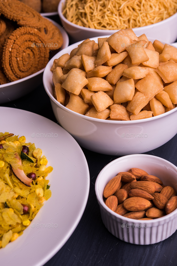 Home made tasty Diwali food /snacks / sweets with dry fruits. Indian Festival Food - Stock Photo - Images