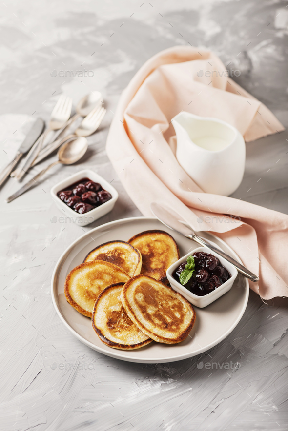 pancakes and cherry jam - Stock Photo - Images