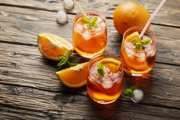 Aperol Spritz with orange - Stock Photo - Images