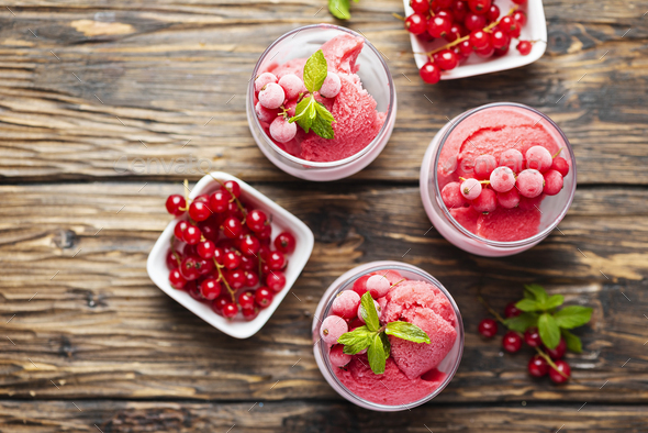 Frozen homade sorbet with red currant - Stock Photo - Images