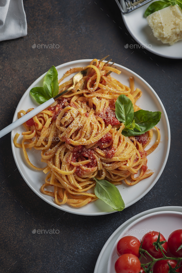tagliatelle with tomato sause - Stock Photo - Images