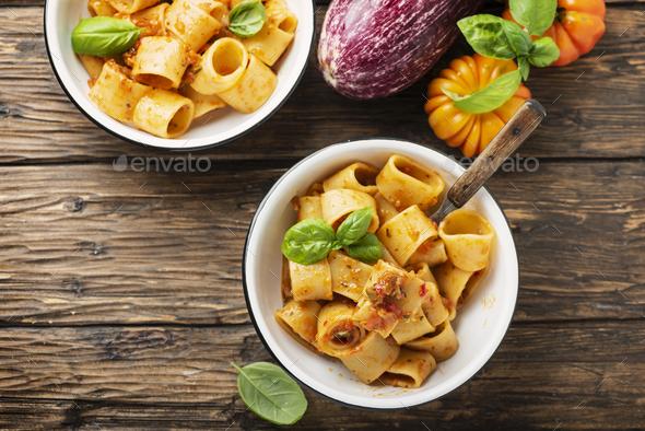 pasta calamarata with vegetarian sauce - Stock Photo - Images