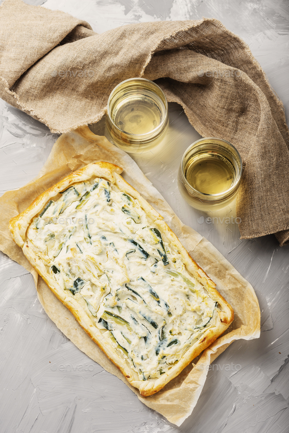 homemade tart with ricotta and zucchini - Stock Photo - Images