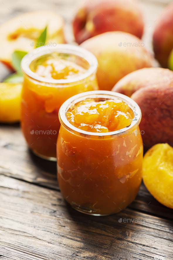 Sweet natural peach jam - Stock Photo - Images