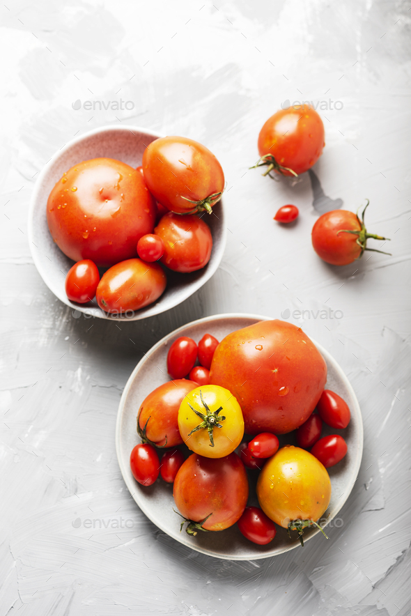 Mix of red sweet tomatoes - Stock Photo - Images