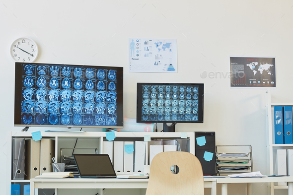 Computer Tomography Workstation in Clinic - Stock Photo - Images