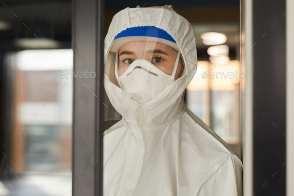 Female Worker Wearing Respirator - Stock Photo - Images
