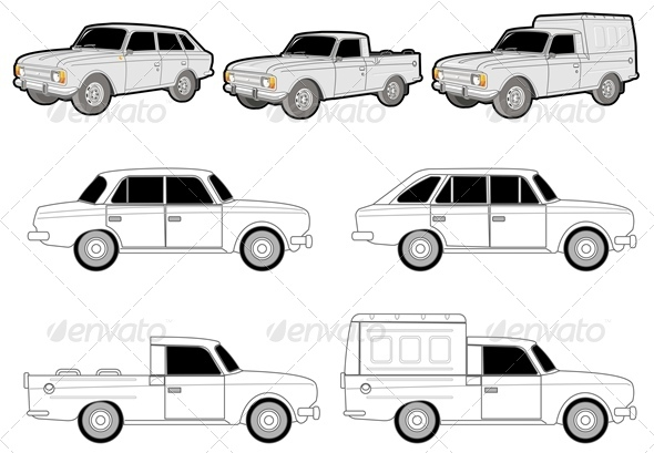 Vector Delivery Car Set - Man-made Objects Objects