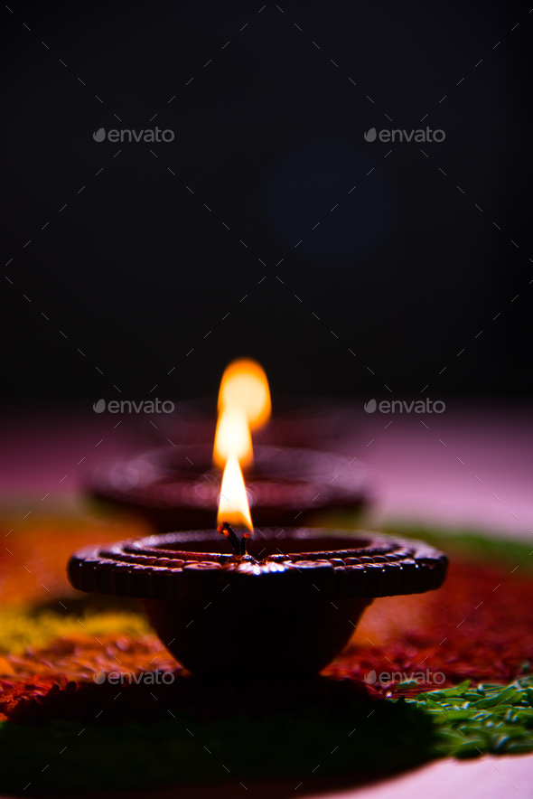 Happy Diwali with Diya or Clay Oil Lamp - Stock Photo - Images