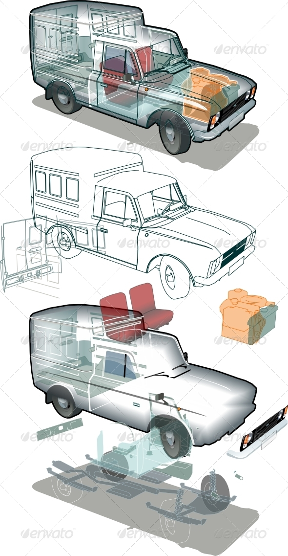 Vector Delivery Car Cutaway - Man-made Objects Objects
