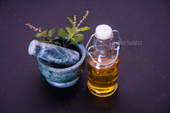 Ayurvedic Tulsi Oil - Stock Photo - Images